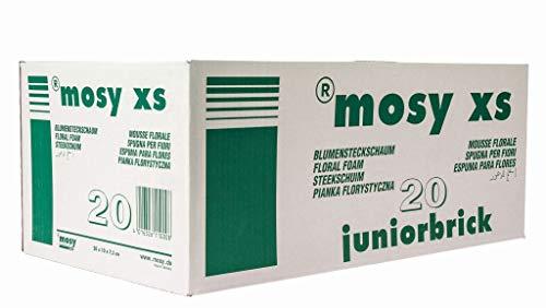 MOSY Steckschaum - Ziegel, II Wahl, 20 Stück, Blumen - Steckmasse, frisch, nass, je 20x10x7 cm f. Blumen-Gestecke, Tisch-Blumenschmuck