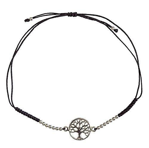 Pulsera de plata 925 con diseño de árbol de la vida con 16 perlas de plata y cordón ajustable de algodón de alta calidad, elegante y espiritual, perfecta para cualquier ocasión.