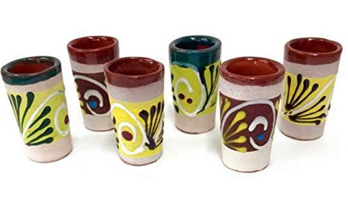 Made In Mexico Mexican Hand Painted Barro Clay Tequila Shots Glasses Set of 6 Assorted - Vaso Tequilero