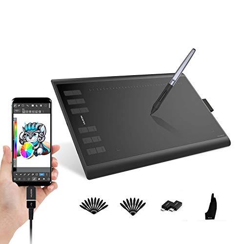 HUION Inspiroy H1060P Grafiktablett (unterstützt Android-Handy) 10 x 6.25 Zoll mit 12+16 Funktionstasten unterstützt 8192 Drucksensitivität und Neigungsfunktion ± 60 ° für Remote Arbeiten oder Lernen