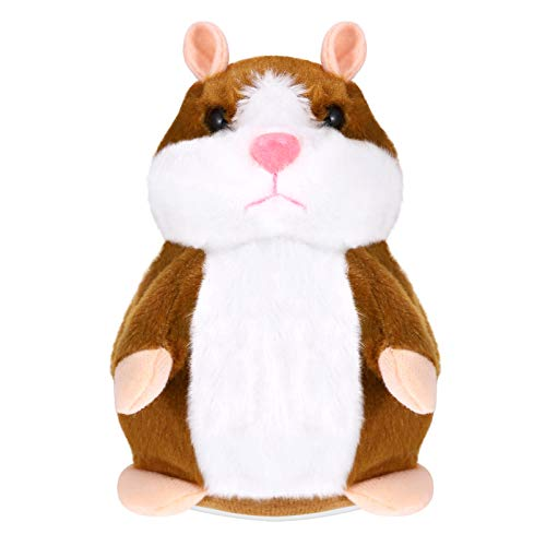 TOYANDONA TOYMYTOY Talking Hamster- 16cm Funny Plush Toy Repeats What You Say Mimicry Pet Toy Electronic Record Stuffed Animal Interactive Toy for Kids Early Learning Gift ( Light Brown )
