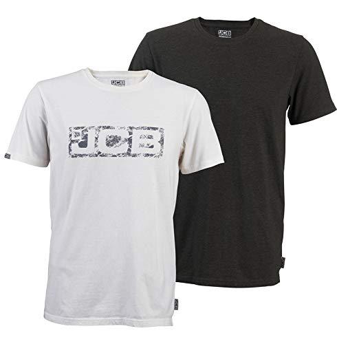JCB Werkkleding T-Shirt, Twin Pack, 60% Katoen 40% Polyester/100% Katoen, 2X-Large Mate, Wit & Grijs