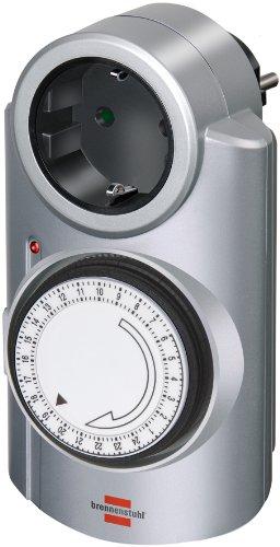 Brennenstuhl Primera-Line tijdschakelklok MT 20, mechanische timer-stopcontact (timer met continubedrijf functie en kinderbeveiliging) kleur: zilver