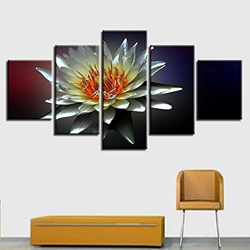 Cuadro sobre Impresión Lienzo 5 Piezas - cuadros en lienzo Flores de loto de lirio de agua 5 piezas con marco Dormitorios Decoración para El Hogar -cuadro pared salon abstracto-Listo para Colgar