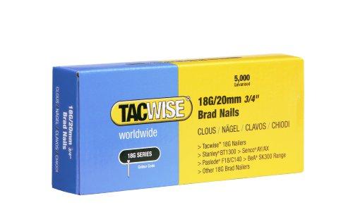Tacwise 0395 Clavos Brad 18G 20mm, Metalizado, 18 G   20 mm, Set de 5000 Piezas