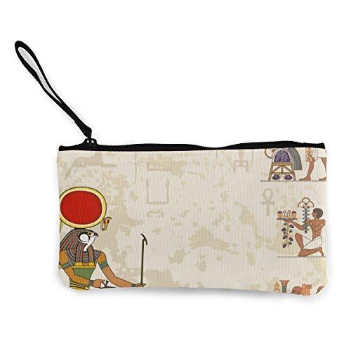 Bandera del Antiguo Egipto (1) Monedero de lona con de moda linda con cremallera Bolsa de maquillaje con correa para la muñeca Bolsa para teléfono de llamadas en efectivo 8.5 X 4.5 pulgadas