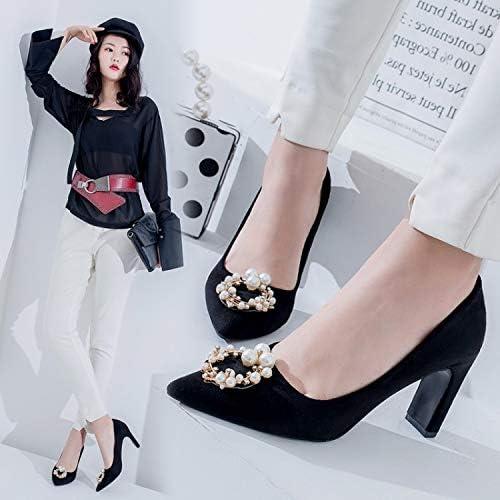HOESCZS Talons Hauts Highheels Printemps Nouveau Chaussures pour Femmes Perle Bouche Peu Profonde Grandes Dames Talons Hauts Stiletto 43