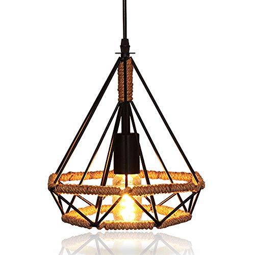 Lampadario a sospensione in metallo e corda di canapa, stile vintage, con gabbia, lampadina a sospensione, attacco E27, paralume, forma a diamante, in ferro, ideale per il caffè