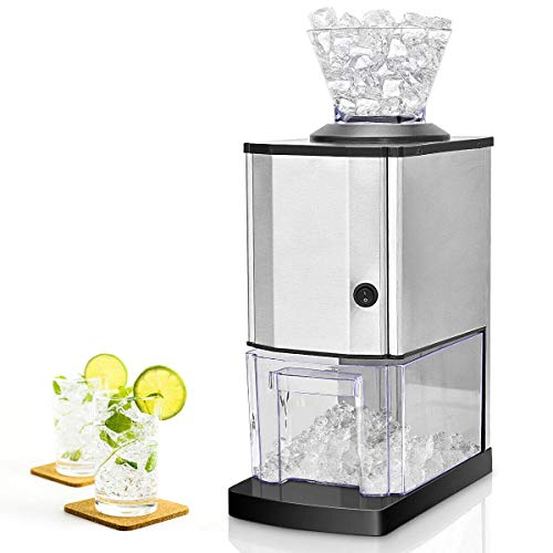 Costzon Electric Ice Crusher, Stainless Steel Ice Shaved Machine w/Large Ice Container, Suction...