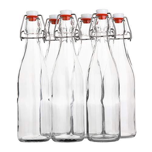 Flip Top Glass Bottle – Swing Top Brewing Bottle with Stopper for Beverages, Oil, Vinegar, Kombucha, Beer, Water, Soda, Kefir – Airtight Lid & Leak Proof Cap – Clear (6)