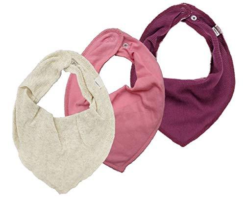 NAME IT 3er Set UNI Baby Dreieckstücher Halstuch Lätzchen 3 Stück (creme-rose-pflaume)