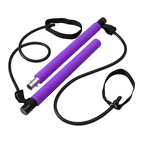 Max4out Pilates Bar Kit Portable Pilates Stick for Home Gym Improve Fitness, Build Muscle, Strength Exercises, Purple