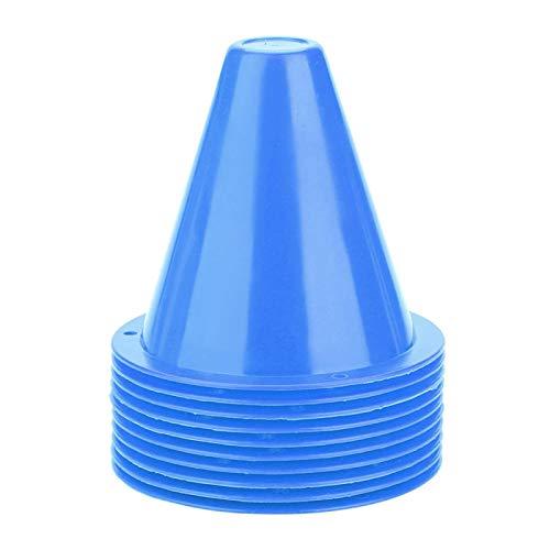 Jenngaoo 10 Pièces Cône d'Entraînement de Football, Entraînement d'Agilité Sport Cônes de Disque de Football Barrières Porte-Marqueur en Plastique Accessoire (Bleu)