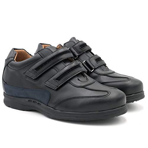 Zapatos de Hombre con Alzas Que Aumentan Altura hasta 7 cm. Fabricados en Piel. Modelo Belcro Negro 39
