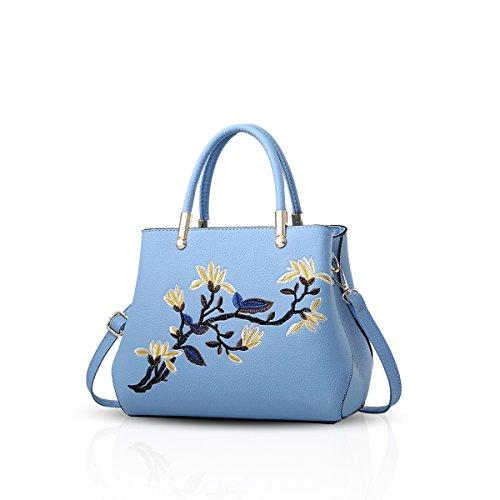 NICOLE&DORIS Bolsos de Mano Totes para Mujer Monederos Mujer Bolso Commuter Bandolera Impermeable Durable PU Azul Claro
