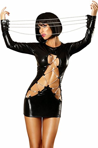 Lolitta Wetlook Minikleid in schwarz dehnbar mit Ketten und Reißbverschluss sexy Dessous Kleid (L/XL)