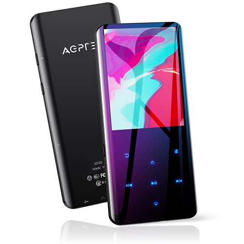 AGPTEK Lettore MP3 Bluetooth 5.0 Lettore Musicale 32GB con Schermo Curvo 2,4'MP3 Running Sport con Altoparlante HiFi Audio Senza Perdita con Radio FM,Registratore Vocale,Supporta Fino a 128 GB (Nero)