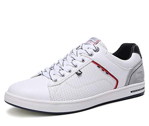 ARRIGO BELLO Zapatos Hombre Vestir Casual Zapatillas Deportivas Running Sneakers Corriendo Transpirable Tamaño 40-46 (43 EU, Blanco)