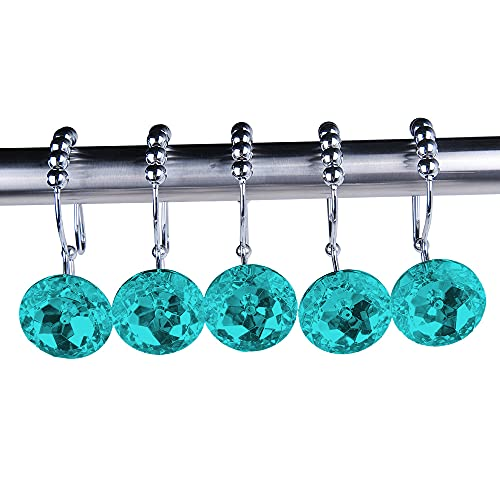 Adwaita Crystal Shower Curtain Hooks (Double Glide - Teal)