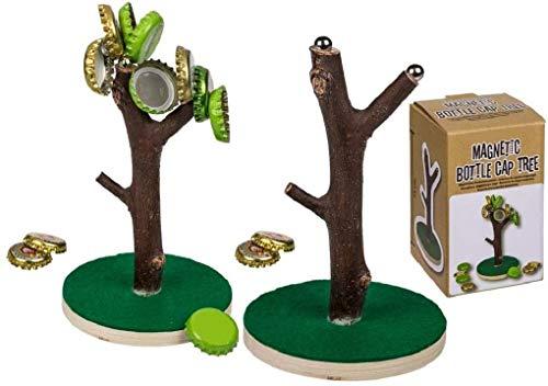 Magnetischer Kronkorkenbaum, Baum ca.15 cm mit Holz-Standfuß Trinkspiel für Biertrinker, Männergeschenk, Geburtstagsgeschenk