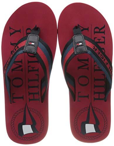 Tommy Hilfiger Hilfiger Maritime Beach Sandal, Sandalias con Punta Abierta para Hombre, Rojo (Primary Red XLG), 42 EU