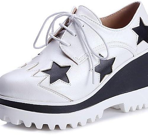 NJX  hug Chaussures Femme-Extérieure   Habillé-Noir   Blanc-Talon Compensé-Compensées   A Plateau   Bout Arrondi-Richelieu-Similicuir