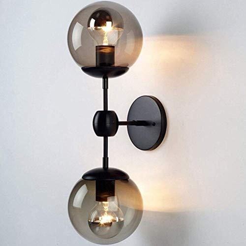 Luz de pared tyxl E27 - Lámpara de pared doble, luces de pared industriales creativas vintage, hierro, cristal, dormitorio, aplique de pared, negro claro 42x13x10 cm
