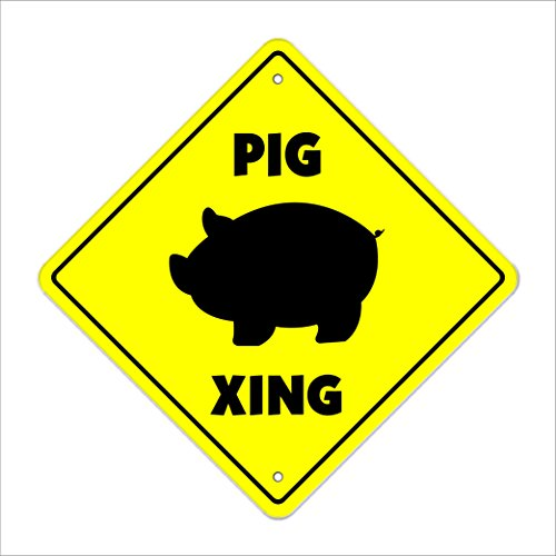 Pig Crossing Sign Zone Xing | Indoor/Outdoor | 12