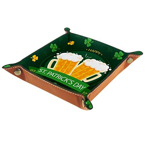 Caja de almacenamiento pequeña, bandeja de valet para hombre,Cerveza Tréboles Patrick Day ,Organizador de cuero para llaves de caja de monedas