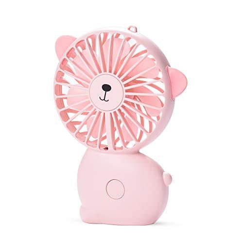 CHwares Held Mini Mano Ventilatore, Hanging Cinghia Portatile Tranquillo Elettrico Ventola di Raffreddamento con Batteria Ricaricabile USB Operated, 7 Colori LED 3 Costi -Rosa