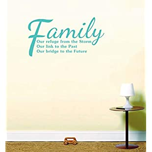 FAMILY Link to past, A bridge to the future Inspiration quote wall art sticker (small, teal)