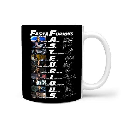 Fast and Furious 2-1 - Taza de cerámica con asa para lavavajillas y microondas, apta para microondas, color blanco
