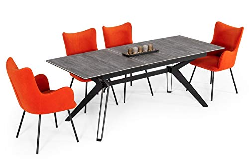 Limari Home Hesselyn Collection Modern Style Ceramic Rectangular Extendable Dining Table With Metal Legs, Gray, Black