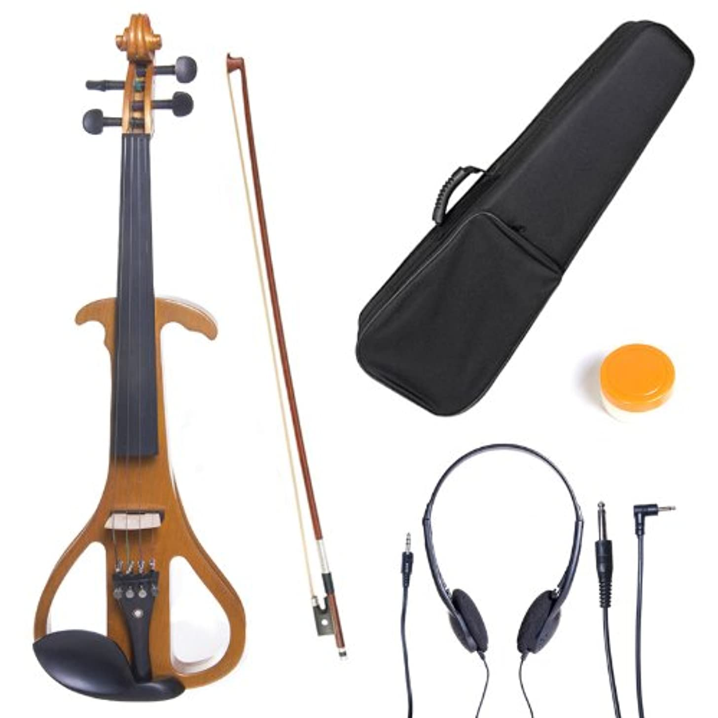 Cecilio 4/4 CEVN-4Y Solid Wood Electric/Silent Violin with Ebony Fittings in Style 4 - Full Size - Yellow Maple Metallic