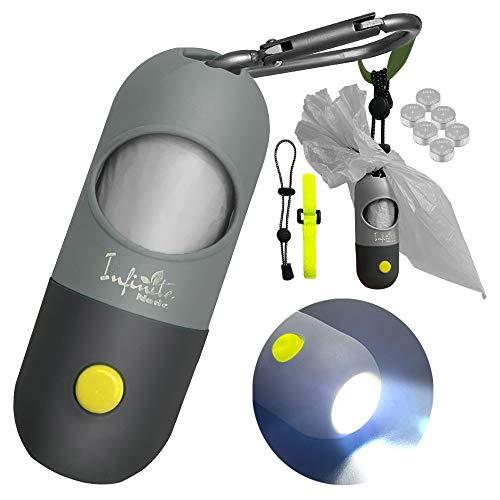 Hundekotbeutelspender mit integrierter LED-Taschenlampe und Robuster Karabiner, Zubehör für Hundeleinen, Freihand-Beutelhalterfür das Gehen mit dem Hund (1 Stück, Grau)