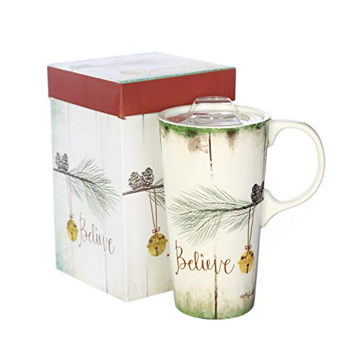 Ceramic Travel Mug Porcelain Water Coffee Cup 17 OZ. with Gift Box and Tritan Lid