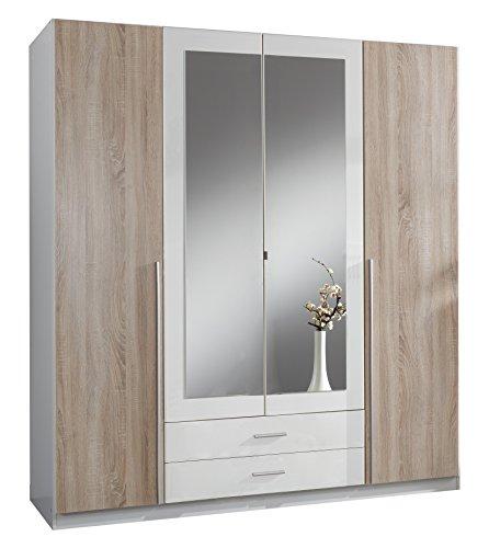 Wimex Kleiderschrank/ Drehtürenschrank Skate, 4 Türen, 2 Schubladen, 2 Spiegel, (B/H/T) 180 x 197 x 58 cm, Weiß/ Absetzung Eiche Sägerau