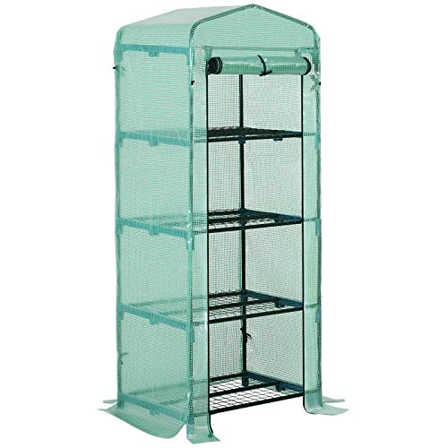 Outsunny 4 Tiers Mini Portable Greenhouse Plant Grow Shed Metal Frame Green...