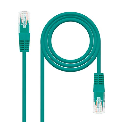 NanoCable 10.20.0401-GR - Cable de red Ethernet RJ45 Cat.6 UTP AWG24, 100% cobre, Verde, latiguillo de 1mts
