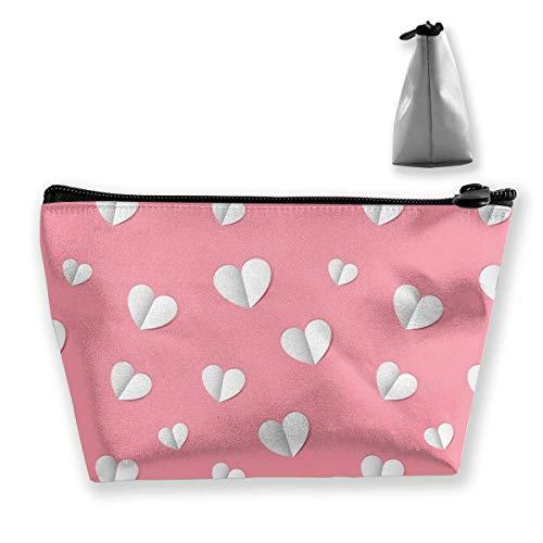 Rosa Papierherz Frauen Kosmetiktasche, multifunktional, Kulturbeutel, tragbare Tasche, Reisetasche, Stauraum mit Reißverschluss (trapezförmig)
