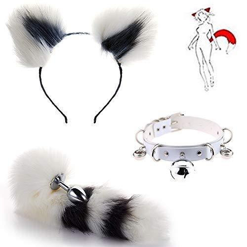 Charms Weiße Glocke Halskette + Flauschige Plüsch Edelstahl Fuchsschwanz Anale Plug & Katzenohren Stirnband Cosplay Set 3-teilig (Weiß & Grau)