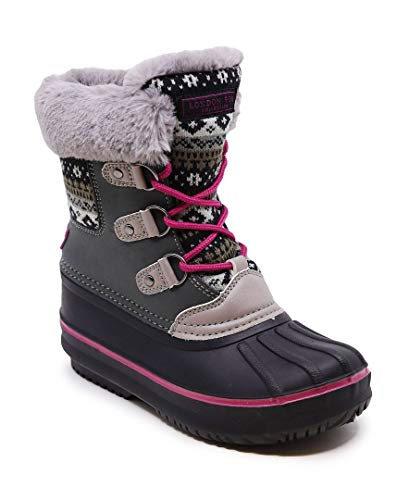 LONDON FOG Girls Tottenham Cold Weather Snow Boot GY/PK Size 1 Grey/Pink