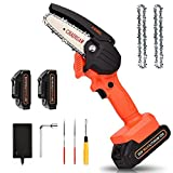 Mini Chainsaw with 2 Batteries, JUEMEL 4-Inch Portable Cordless Chain Saw with 20V Rechargeble Battery for Tree Trimming, Branches Pruning, Wood Cutting, Household and Garden
