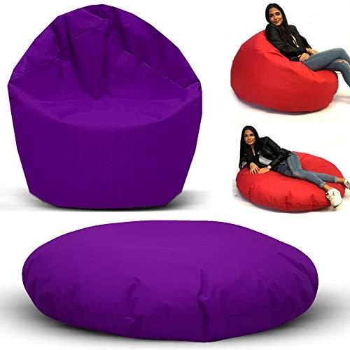 Sitzsack 2 in 1 Funktion mit Füllung Bag Sitzkissen Bodenkissen Kissen Sessel Sofa (100cm Durchmesser, Lila)