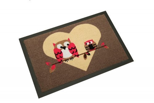 Paillasson / paillasson / paillasson / paillasson / paillasson / paillasson / paillasson / paillasson / motif chouettes Welcome gris avec cœur Love Chouette / Dimensions 40 x 60 cm