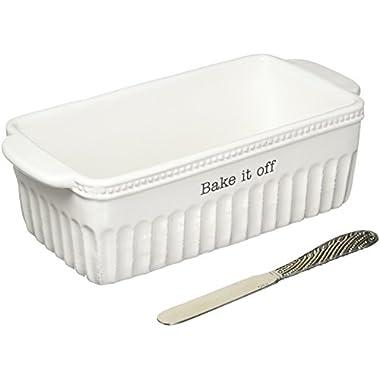 Mud Pie 4801019 Bake If Off Ceramic Loaf Pan, White