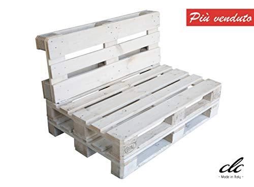 clc Divano divanetto 2 posti in Pallet EPAL per Esterni e Giardino -Made in Italy- Bianco, 120x80x78