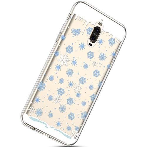 Kompatibel mit Handytasche Huawei Mate 9 Pro Weihnachten Handyhülle Durchsichtig Schutzhülle Silikon Dünn Case Transparent Handyhüllen Kirstall Clear Case Etui TPU Bumper Schale,Blau Schneeflocken