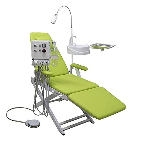 SUN RNPP Silla Dental, Silla móvil Plegable portátil con lámpara de luz quirúrgica LED de turbina montada en la Pared y Bandeja de Color Azul 4H,Verde