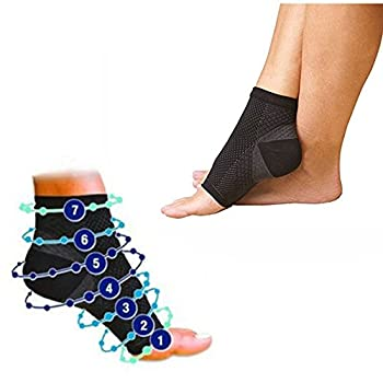 Pack of 2 - Compression Foot Ankle Angel Sleeve Anti Fatigue Compression Foot Sleeve Sock for Ankle Swelling Plantar  S/M